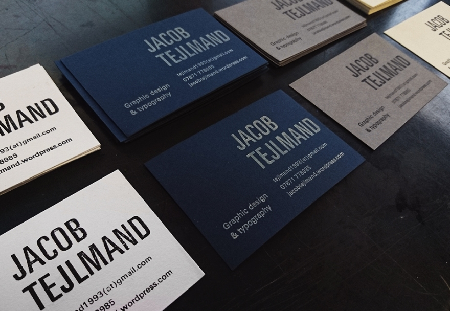 Letterpress business cards personal business cards made with traditional letterpress setting the final print is printed on various paper colours and with different inks reheart Images
